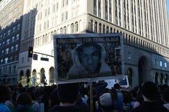 Oakland Protest. Protesters in Oakland California protesting the Trayvon Martin decision Stock Photos