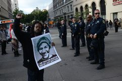 Oakland Protest. Protesters in Oakland California protesting the Trayvon Martin decision Royalty Free Stock Images