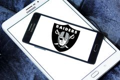 Oakland Raiders american football team logo. Logo of Oakland Raiders american football team on samsung mobile. The Oakland Raiders are a professional American Royalty Free Stock Image