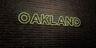 OAKLAND -Realistic Neon Sign on Brick Wall background - 3D rendered royalty free stock image. Can be used for online banner ads and direct mailers stock illustration