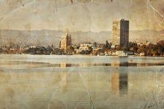 Oakland retro photograph, Lake Merritt landscape Stock Image