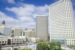 Oakland skyline from Lake Merritt, Oakland, California Royalty Free Stock Images