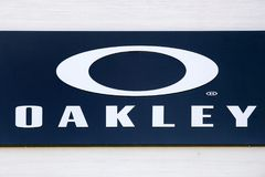 Oakley logo on a wall stock images
