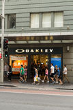The oakley store on Georges Street. Oakley is a world wide famous sunglasses shop. We can see the facade of the building Royalty Free Stock Photos