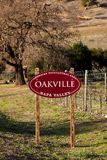 Oakville AVA appelation. A Napa Valley sign for one of the 16 Napa AVA districts. Oakville includes the Rutherford Bench which encompasses gravelly and well Royalty Free Stock Photo