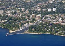 Oakville Ontario, aerial. Aerial view of the harbor in Oakville, Ontario Canada Stock Photos