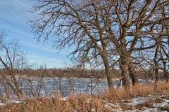 Oakwood sjödelstatsparken är i staten av South Dakota nära Brookings royaltyfri fotografi