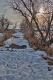 Oakwood sjödelstatsparken är i staten av South Dakota nära Brookings arkivfoto