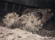 Сoal machine in underground tunnel Royalty Free Stock Photo