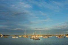 Oamaru harbor at sunset Stock Images