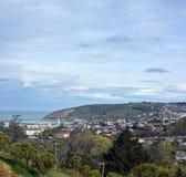 Oamaru Town, Harbour & Suburbs Vertical Panorama, New Zealand. stock image
