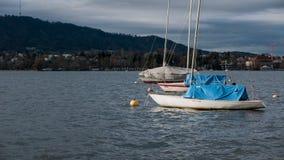 Oanvända fartyg på Zurich sjön i nedgång Arkivbild