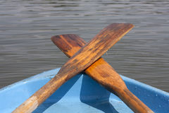 Oar on the boat on the lake Stock Photo