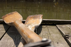 Oar on the pier on lake marine tourist idea Stock Images