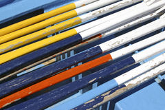 Oars. Painted in colors in a boat at baiona's port, Galicia, Spain Royalty Free Stock Photography