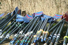 Oars. Row of oars Royalty Free Stock Image