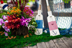 Oars. Colored wedding decoration oars Stock Images