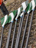 Oars laid out on a quayside Stock Photography
