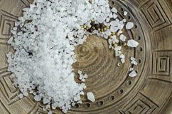 Ð¡oarse salt. Large sea salt ethnic dish stock photo