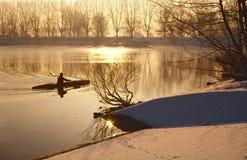 Oarsman sul lago ghiacciato Immagini Stock Libere da Diritti