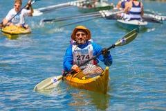 Oarsmen στο regatta της Βενετίας Vogalonga, Ιταλία Στοκ εικόνες με δικαίωμα ελεύθερης χρήσης
