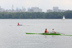 Oarsmen in boats at festival Ekofest 2012 Royalty Free Stock Images