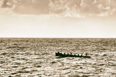 Oarsmen rowing on sea with vintage filter effect Stock Photo