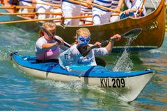 Oarsmen in the Venice Vogalonga regatta, Italy. Stock Photo