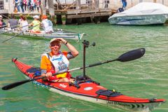 Oarsmen in the Venice Vogalonga regatta, Italy. Royalty Free Stock Photos