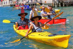 Oarsmen in the Venice Vogalonga regatta, Italy. Stock Photos