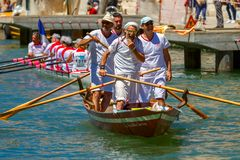 Oarsmens in the Venice Vogalonga regatta, Italy. Stock Images