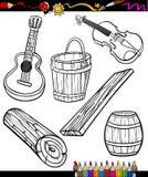 Oartoon dos objetos ajustado para o livro para colorir Imagens de Stock Royalty Free