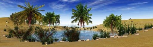 Oas i öknen, palmträden och sjön Royaltyfri Fotografi