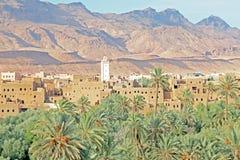 Oas, öken och tabellberg Marocko Royaltyfri Bild