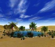 Oase in de zandige woestijn royalty-vrije stock foto's