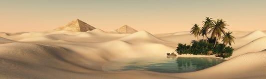 Oase in de zandige woestijn stock fotografie