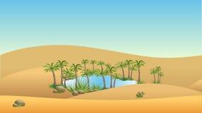 Oase in der Wüste - Vektorlandschaftshintergrund Lizenzfreie Stockbilder