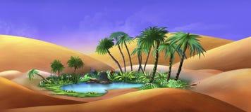 Oase in een Woestijn royalty-vrije illustratie