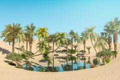 Oase en Palmen in Woestijn royalty-vrije stock foto