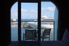 Oasi del balcone della nave da crociera dei mari Fotografie Stock