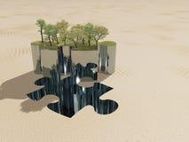Oasi e sabbia del pezzo di puzzle Immagine Stock