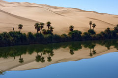 Oasi, lago Gabron Libia Fotografie Stock