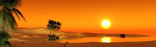 Oasi nel deserto sabbioso Immagini Stock Libere da Diritti
