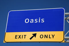 Oasis. Exit on the highway Royalty Free Stock Photos