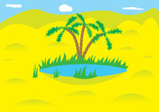 Oasis. An oasis is in the desert Royalty Free Stock Images