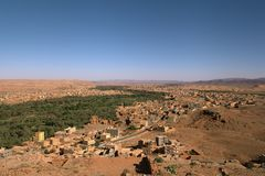 Panoramic view of Tinghir stock photography