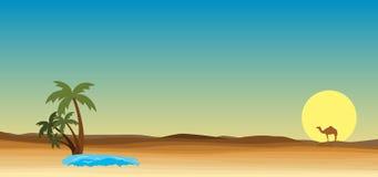 Oasis au désert illustration libre de droits