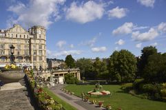 Oasis in the City. Parade Gardens in Bath, Somerset, England. Empire Hotel in the background Stock Photos