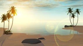 oasis Coucher du soleil dans le désert illustration stock