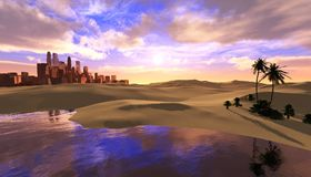 Oasis dans le désert illustration de vecteur